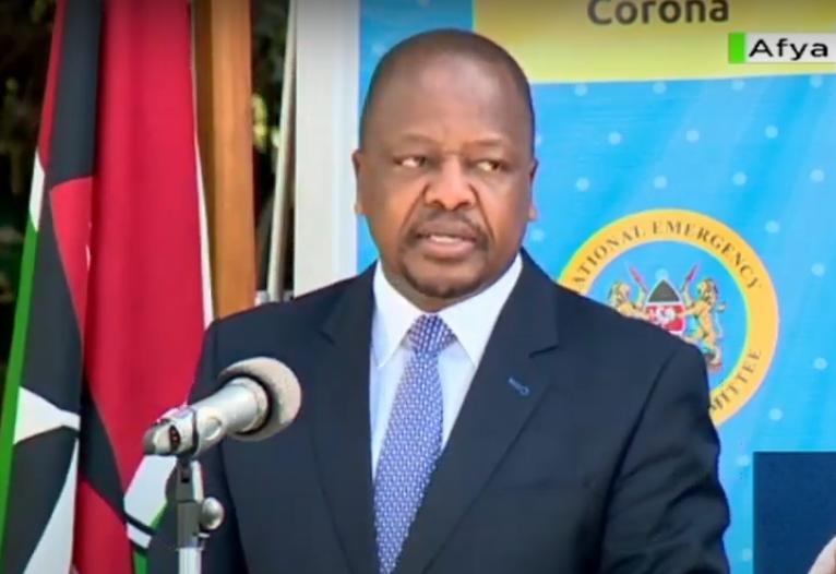 Mutahi Kagwe giving updates on Coronavirus