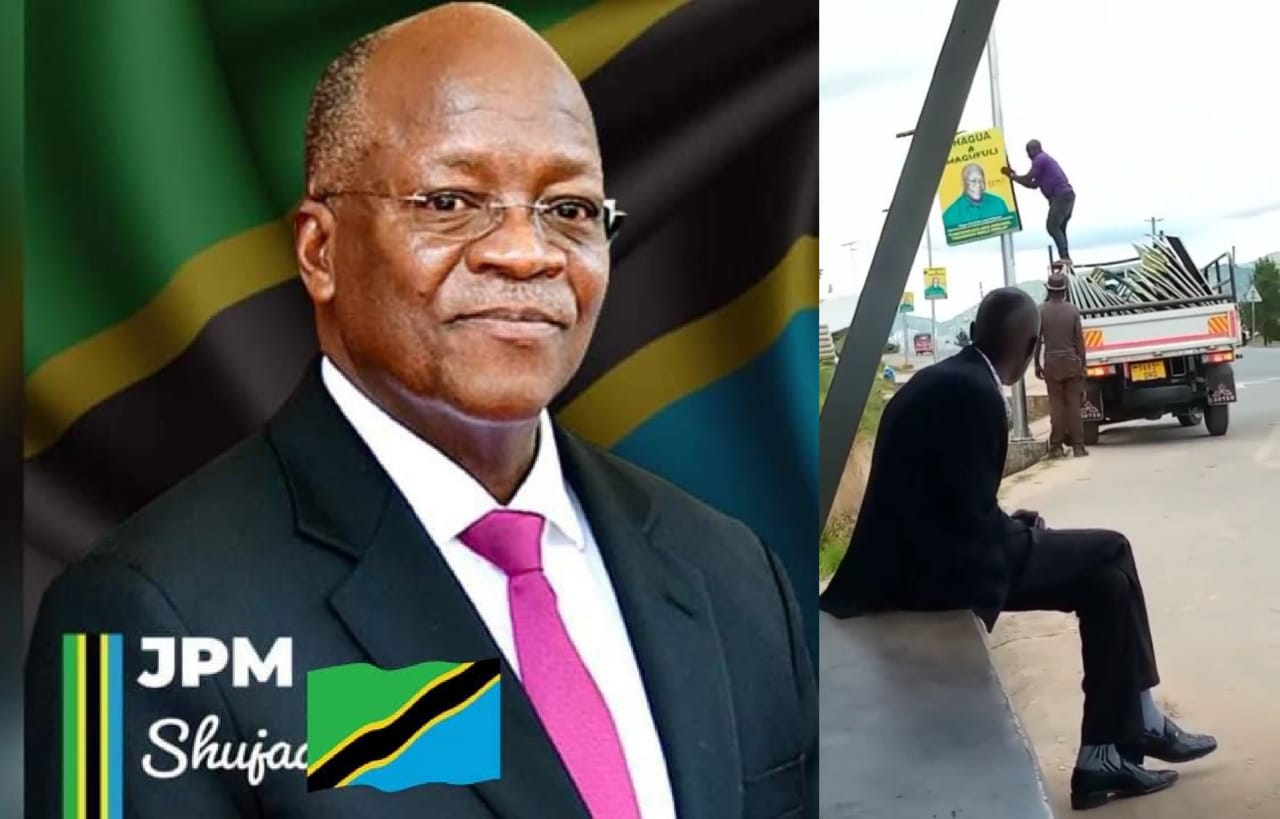 Magufuli's Campaign Posters Violently Removed From The Streets And Thrown Away After His Death