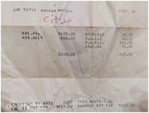 Ian Mbugua's 1985 Payslip.