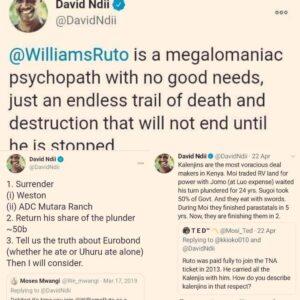 Dr. David Ndii's Previous Twitter posts.Photo credit: Twitter/Prof.Makau Mutua