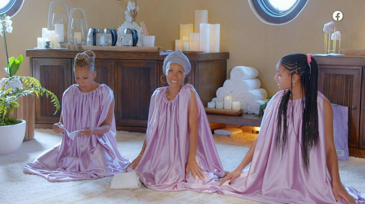 """Jada Pinkett Smith, 49, (center) with her daughter Willow Smith, 20, and mom Adrienne Banfield-Norris, 67, steaming their vaginas together for their popular Facebook show """"Red Table Talk""""."""